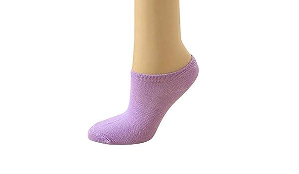 VJGOAL Moda casual linda Color sólido Color del caramelo Microfibra Calcetines de tobillo de corte bajo Boca baja calcetines de barco invisible 5 pares(Un ...