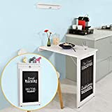 wall mounted drop leaf table Haotian Wall-Mounted Drop-Leaf Table, Folding Kitchen & Dining Table Desk, Solid Wood Children Table,Home Office Table Desk Workstation Computer Desk with Storage Shelves, Trestle Desk (FWT20-W)