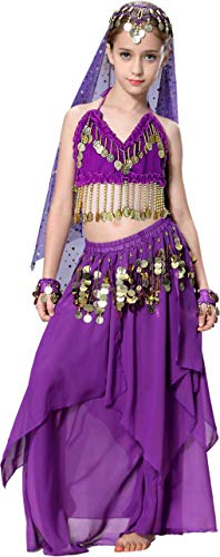 Belly Dancer Costumes for Kids Girls Aladdin Halloween Costume Purple 4T 4 5 6 7 8 10 12 14 16