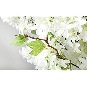 Skyseen 3Pcs Lilac Silk Flower Artificial Syringa Linn Arrangement,White 3