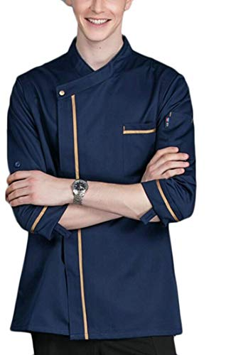 - Generic Men's Classic Roll-up Sleeve Button Down Chef Uniforms Coat with Pockets Navy Blue S