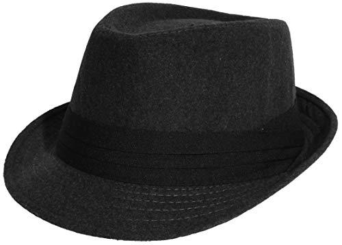 Enimay Unisex Wool Fedora Hat Classic Timeless Light Weight Dark Grey ()