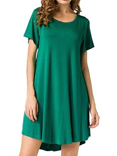 JollieLovin Women's Tunic Top Casual Short Sleeve Swing Loose T-Shirt Dress (Deep Green, 3X)