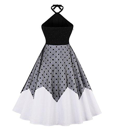Aecibzo Taille Plus Pour Femmes 1950 Licol Robe De Bal Swing Vintage Rockabilly Noir