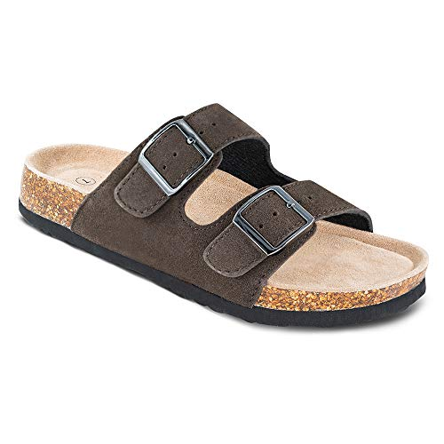 TF STAR Women's Arizona Cow Suede Leather Flat Sandals,2-Strap Adjustable Buckle,Casual Slippers,Slide Cork Footbed Shoes for Women/Ladies/Girls