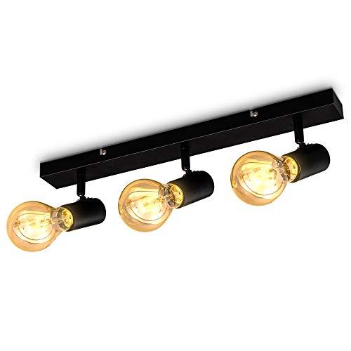 B.K.Licht Vintage plafondlamp I retro plafondlamp I 3 lichts I E27 I landhuisstijl I plafondlamp I draaibaar I zonder…