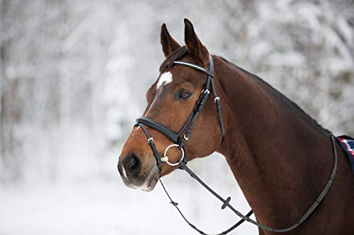Horze Horse Full Black Crystal Browband Leather English Bridle Headstall Reins Sale