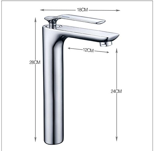 Long Makej Chrome Brass Single Lever Hot and Cold Bathroom Sink Faucet Basin Faucet Long