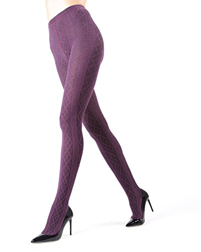 Memoi Juneau Diamonds Sweater Tights   Women's Hosiery - Pantyhose Grape Heather MO 389 Small/Medium -