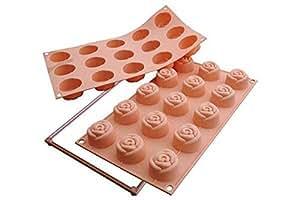 Sf074 molde de silicona 15 cavidades con forma de rosa color melocot n hogar - Moldes silicona amazon ...