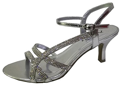Krasceva Ladies Womens Diamante Low Heel Evening Sandals Shoes Silver