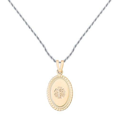 - Divoti Deep Custom Laser Engraved PVD Gold Disc 316L Medical Alert Necklace -24