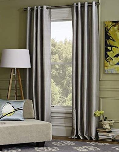 IHF Faux Silk Dupioni Solid Textured Lined Grommet Eyelet Panels Curtains Drapes Gray