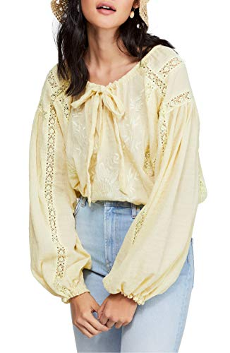 Free People Womens Maria Embroidered Lace Inset Peasant Top Yellow S