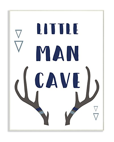 Stupell Home Décor Little Man Cave Antlers Typography Wall Plaque Art, 10 x 0.5 x 15, Proudly Made in - Fashion Mens 1970