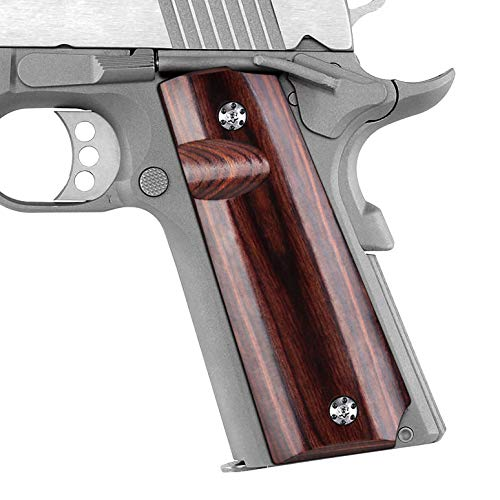 Cool Hand 1911 Full Size High Polished Dymond Wood Grips, Free Screws Included, Mag Release, Ambi Safety Cut, Brand, Brown, H1-S-BWS