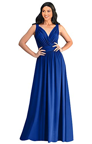 KOH KOH Petite Womens Long Sleeveless Flowy Bridesmaids Cocktail Party Evening Formal Sexy Summer Wedding Guest Ball Prom Gown Gowns Maxi Dress Dresses, Cobalt Royal Blue S 4-6 (Long Cocktail Evening)