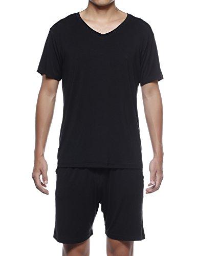 JeVenis Men's Summer Comfort Sleepwear Short Sleeve Pajamas Tracksuit Set Shorts and Top Set (US XXL (Asia XXXL), Black)