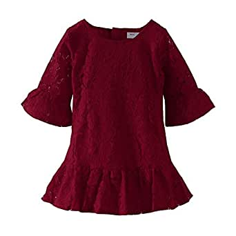 Mud Kingdom Baby Girl Burgundy Dress Lace Eyelet 12 Months Elegant