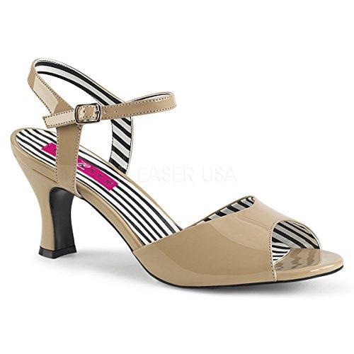 Patent Footwear Cream - Pleaser Pink Label Women's Jenna09/Cr Dress Sandal, Cream Patent, 16 M US