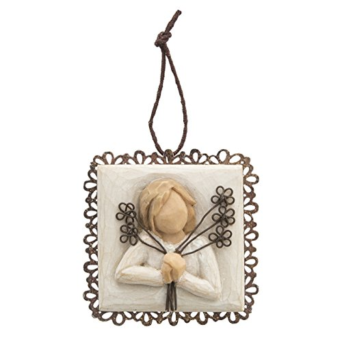 Willow Tree hand-painted sculpted Metal-edged Ornament, Friendship -