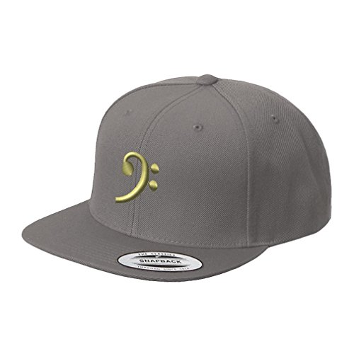 Speedy Pros Black Bass Clef Gold Embroidered Flat Visor Snapback Hat Dark Grey (Bass Embroidered Visor)