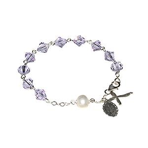 Womens Rosary Bracelet made with Alexandrite Violet/Blue Swarovski Crystal element (June)