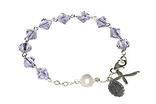 (Womens Rosary Bracelet made with Alexandrite Violet/Blue Swarovski Crystal element (June))