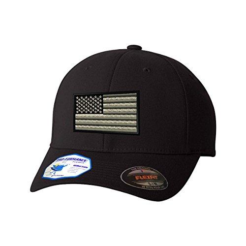 b6f898db291 Black White American Flag Flexfit Pro-Formance Embroidered Cap Hat Black  Small Medium