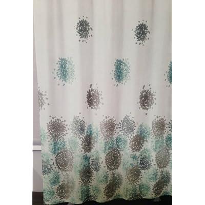 Amazon DKNY Brushstroke Floral Aqua Modern Fabric Shower Curtain