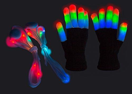 Children LED Finger Light Gloves + LED Shoelaces Toys For KIDS w/extra batteries