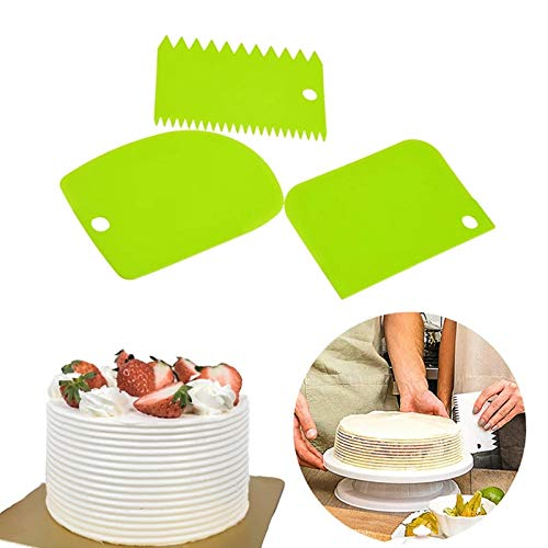 Grizzly 3pcs/Set Plastic Dough Bench Scraper Cake Cutter, Chopper, Smoother Icing Fondant Cake Decorating Pastry Baking Tool (Color May Vary) Price & Reviews
