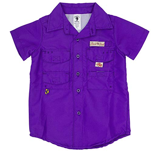Bull Red Toddlers Purple PFG Vented Fishing Shirt Button up, 2T (Best Fishing In Louisiana)
