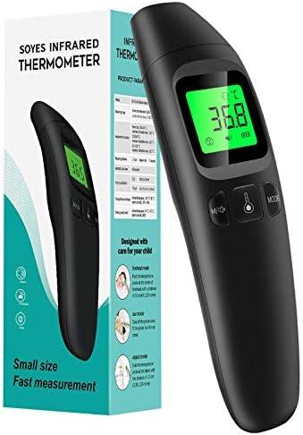 SOYES Termómetro, Termómetro Infrarrojo sin Contacto con Pantalla LCD, Recuperación de Memoria, Termómetros Laser con Alarma Para Niños y Adultos