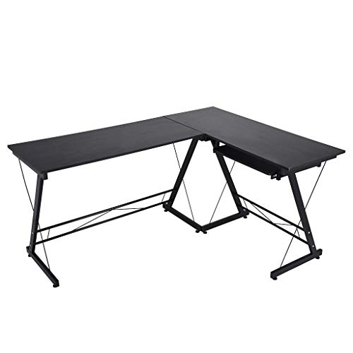 Fiudx L-Shaped Computer Desk,L-Shaped Home Office Corner Desk Computer Table Steel Wood Study Desk Placed Keyboard(Black) ()