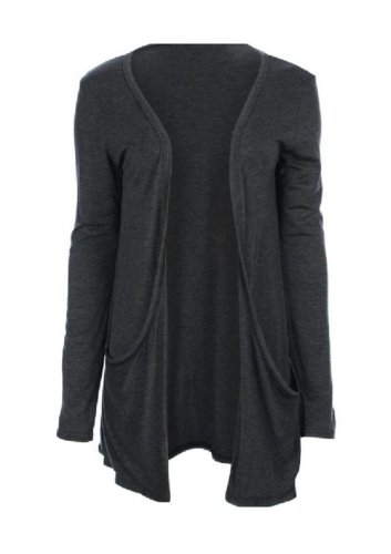 Hot Hanger Ladies Plus Size Pocket Long Sleeve Cardigan 16-26 : Color – Charcoal Grey : Size – 16-18 LXL