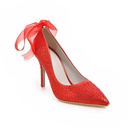 Moda QPYC Strass donna Scarpe red punta Nastro Donne Punta Scarpe di wCTqnRxz