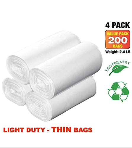 7-10 Gallon Clear Garbage Bags Kitchen Trash Bags Large Wastebasket Liners for Home Office, 200 Count (200, Fits 7-10 Gallon Bins)