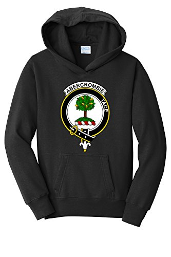 Tenacitee Boy's Youth Scottish Clan Crest Badge Abercrombie Hooded Sweatshirt, Medium, Black