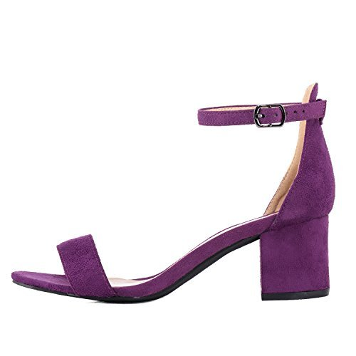 Women's Heeled Sandals Ankle Strap Chunky High Heels 5CM Open Toe Low Sandals Bridal Party Shoes Velvet Purple Size 7.5 -