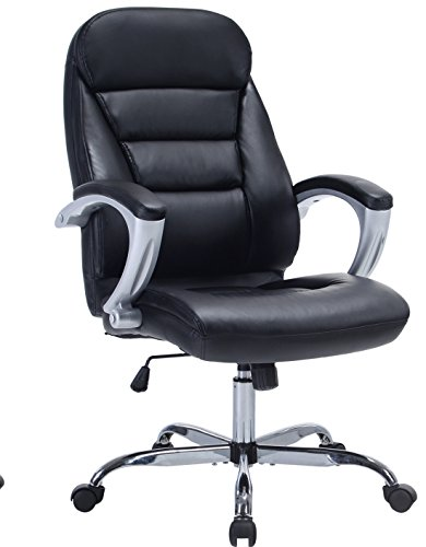 High Back Thick Padded Leather Ergonomic Office Chair Executive Task Chair with Padded Arms and Headrest
