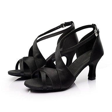 Salsa personnalisable Noir marron danse latine rouge Chaussures Femme de satiné Talon qvxPnIw