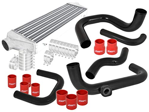 AJP Distributors Turbo Aluminum Front Mount Intercooler Black Piping Kit Coupler Red For Acura Integra Honda Civic Del Sol Dc2 Ek Eg Ej