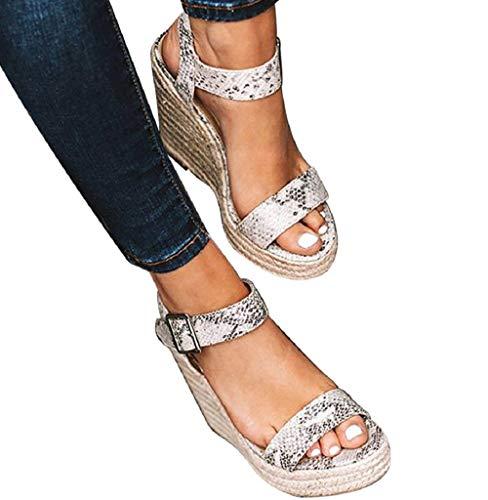 DEARWEN Women's Espadrilles Wedge Sandals Open Toe Ankle Strap Platform Heeled Cute Sandals Snake -