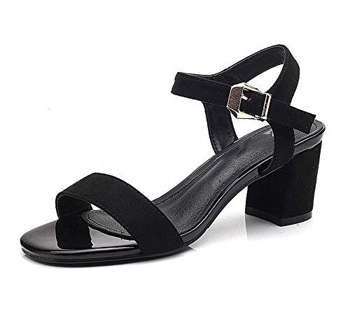 sandalias de tacón alto femeninos de espesor de gamuza mate hebilla con los zapatos de punta abierta sandalias respirables Black