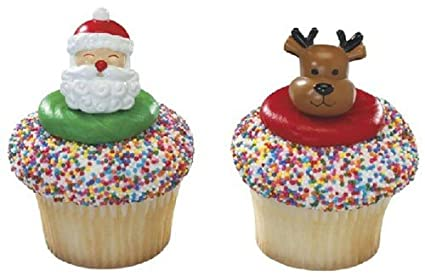 christmas cupcake rings santa and reindeer party favor cake decorations 12