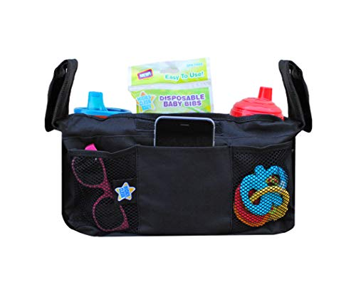 Mighty Clean Baby Stroller Organizer - Fits Most Strollers and Includes Two Deep Insulated Cup Holders to Keep Bottles Warm and Drinks Cold