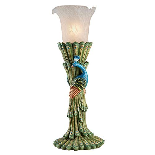 Design Toscano Victorian Peacock Torchiere Sculptural Table Lamp