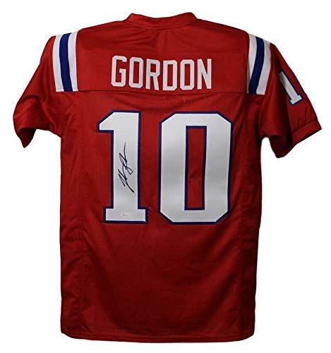 (Josh Gordon Autographed/Signed New England Patriots Red XL Jersey JSA)