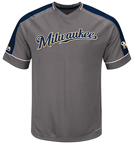 Milwaukee Brewers MLB Mens Majestic Dominant Campaign Cool Base Jersey Big & Tall Sizes (3XT)